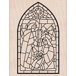 Hero Arts - Christmas - Woodblock - Wood Mounted Stamps - Stainglass Window