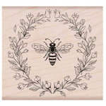 Hero Arts - Garden Collection - Woodblock - Wood Mounted Stamps - Antique Bee and Flowers
