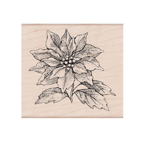 Hero Arts - Christmas - From The Vault - Woodblock - Wood Mounted Stamp - Poinsettia