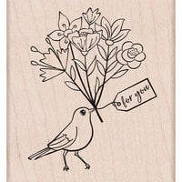 Hero Arts - Woodblock - Wood Mounted Stamp - Bird with Bouquet