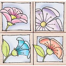 Hero Arts - Woodblock - Wood Mounted Stamps - Peeking Posies - Set of Four