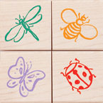 Hero Arts - Woodblock - Wood Mounted Stamps - Little Bugs - Set of Four