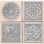 Hero Arts - Woodblock - Wood Mounted Stamps - Stone Etchings - Set of Four