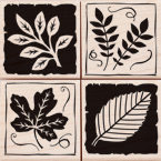 Hero Arts - Woodblock - Wood Mounted Stamps - Leaf Graphics - Set of Four