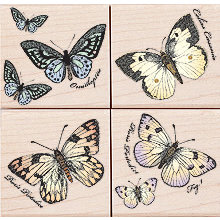 Hero Arts - Woodblock - Wood Mounted Stamps - Papillons - Set of Four