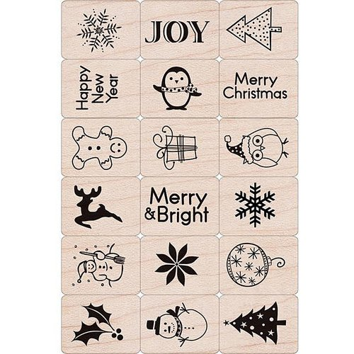 Hero Arts - Woodblock - Christmas - Wood Mounted Stamps - Merry Christmas Stamp Set