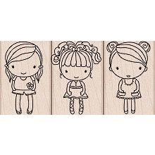 Hero Arts - Woodblock - Wood Mounted Stamps - 3 Girls
