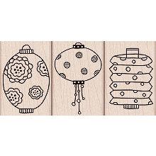 Hero Arts - Woodblock - Wood Mounted Stamps - 3 Paper Lanterns