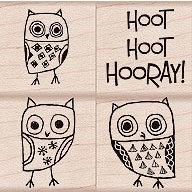 Hero Arts - Woodblock - Wood Mounted Stamps - Hoot Hoot Hooray