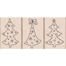Hero Arts - Woodblock - Christmas - Wood Mounted Stamps - Three Tree Ornaments