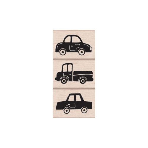 Hero Arts - Woodblock - Wood Mounted Stamps - Three Fun Cars