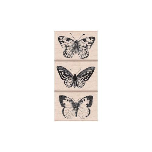 Hero Arts - Woodblock - Wood Mounted Stamps - Three Artistic Butterflies