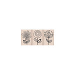 Hero Arts - Woodblock - Wood Mounted Stamps - Three Quirky Flowers
