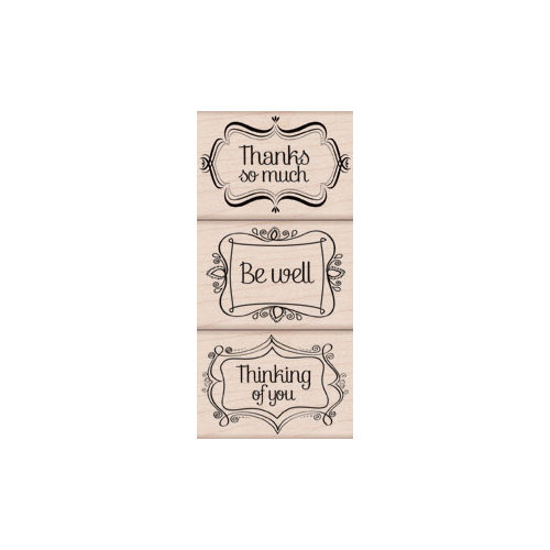 Hero Arts - Woodblock - Wood Mounted Stamps - Three Message Frames