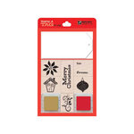 Hero Arts - Stamp a Tag - Christmas - Wood Mounted Stamp and Tag Set - Red