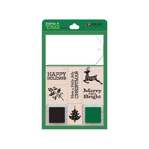 Hero Arts - Stamp a Tag - Christmas - Wood Mounted Stamp and Tag Set - Green