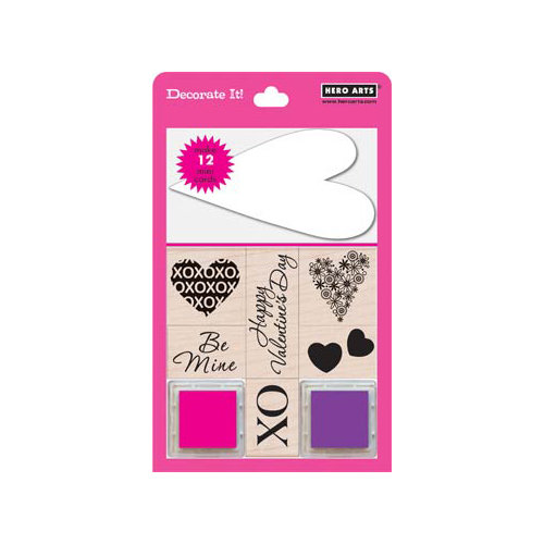 Hero Arts - Stamp a Tag - Wood Mounted Stamp and Card Set - Hearts
