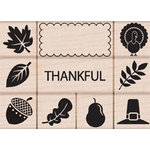 Hero Arts - Woodblock - Wood Mounted Stamps - Thankful Stamp Set