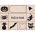 Hero Arts - Woodblock - Halloween - Wood Mounted Stamps - Trick or Treat Stamp Set