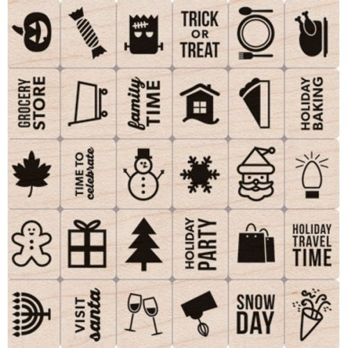 Hero Arts - Kelly Purkey Collection - Woodblock - Christmas - Wood Mounted Stamps - Holiday Planner Icons