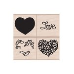 Hero Arts - 2016 Valentines Collection - Woodblock - Wood Mounted Stamps - Color Layering Love Heart Set
