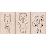 Hero Arts - Critters Collection - Woodblock - Wood Mounted Stamps - Bunny, Fox and Bear