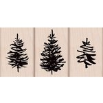 Hero Arts - Christmas - Woodblock - Wood Mounted Stamps - Paintbrush Trees
