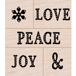Hero Arts - Christmas - Woodblock - Wood Mounted Stamps - Peace, Love, Joy