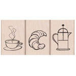 Hero Arts - Parisian Style Collection - Woodblock - Wood Mounted Stamps - Coffee and Croissant