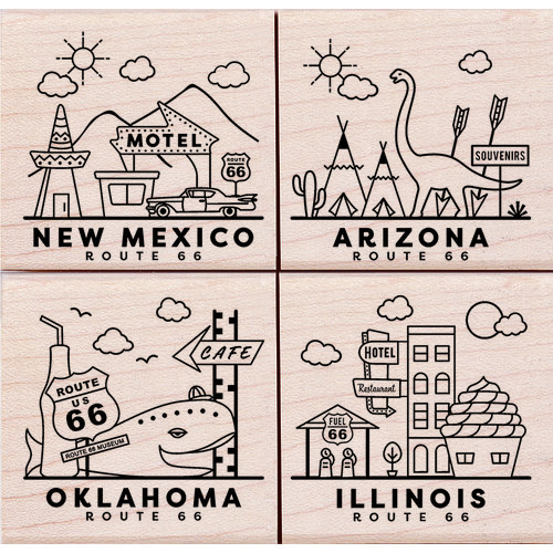 Hero Arts - Woodblock - Wood Mounted Stamps - Route 66 Poetic Prints