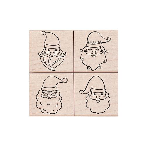 Hero Arts - Christmas - Woodblock - Wood Mounted Stamps - Santa Faces Set