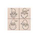 Hero Arts - Christmas - Woodblock - Wood Mounted Stamps - Santa Faces Set