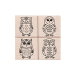 Hero Arts - Woodblock - Wood Mounted Stamps - Four Owls