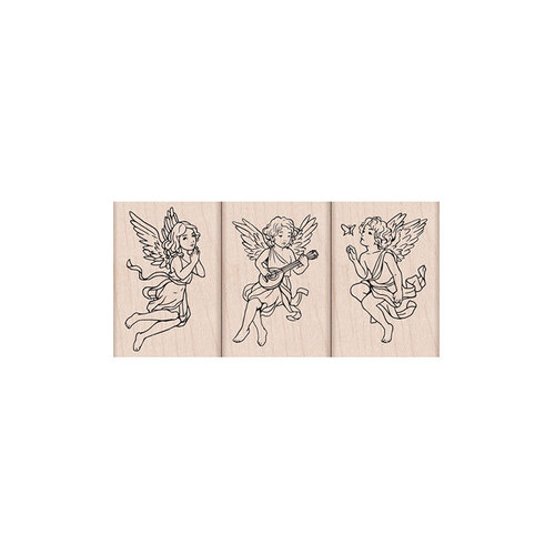 Hero Arts- Season of Wonder Collection - Woodblock - Wood Mounted Stamps - Angel Trio