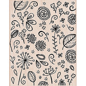Hero Arts - Woodblock - Wood Mounted Stamps - Leaves and Flower Scatter