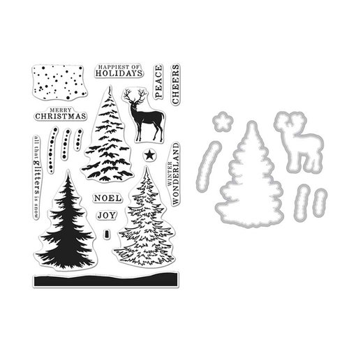 Hero Arts - Christmas - Die and Clear Photopolymer Stamp Set - Snowy Tree