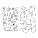 Hero Arts - Christmas - Die and Clear Acrylic Stamp Set - Origami Holiday