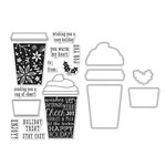 Hero Arts - Christmas - Die and Clear Acrylic Stamp Set - Coffee Cup