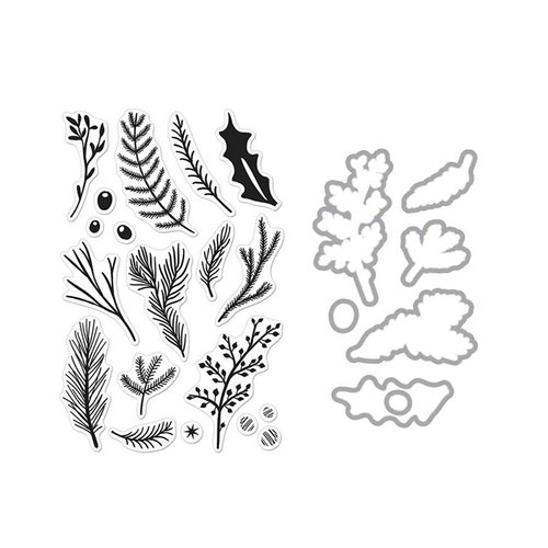 Hero Arts - Die and Clear Photopolymer Stamp Set - Pine Branches
