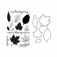 Hero Arts - Fall Collection - Die and Clear Photopolymer Stamp Set - Grateful Leaves
