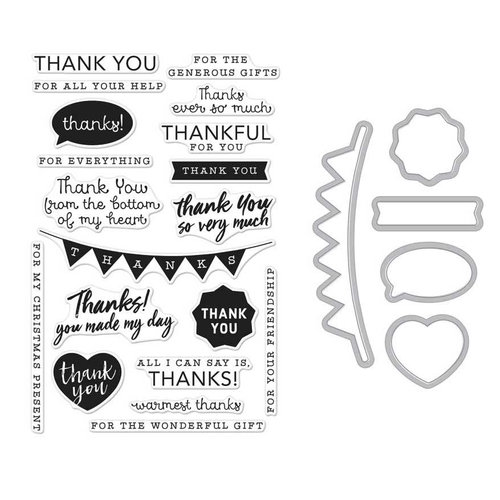 Hero Arts - Die and Clear Photopolymer Stamp Set - Thank You Messages