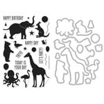 Hero Arts - Die and Clear Acrylic Stamp Set - Birthday Animal Silhouettes