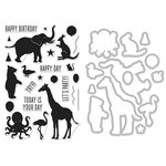 Hero Arts - Die and Clear Photopolymer Stamp Set - Birthday Animal Silhouettes