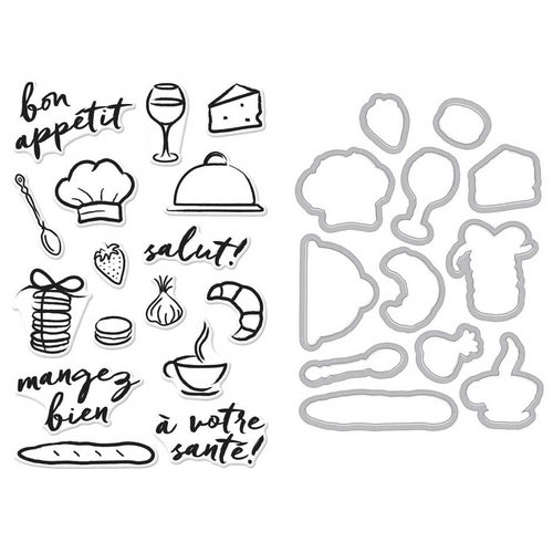 Hero Arts - Parisian Style Collection - Die and Clear Acrylic Stamp Set - Bon Appetit