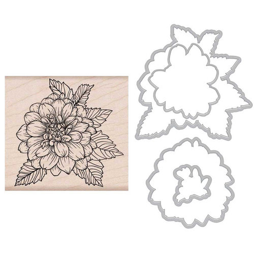 Hero Arts - Garden Collection - Die and Wood Mount Stamp Set - Artistic Dahlia