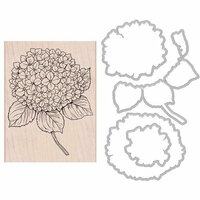 Hero Arts - Garden Collection - Die and Wood Mount Stamp Set - Large Hydrangea