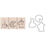 Hero Arts - Parisian Style Collection - Die and Clear Acrylic Stamp Set - Coffee and Croissant