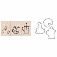 Hero Arts - Parisian Style Collection - Die and Clear Photopolymer Stamp Set - Coffee and Croissant