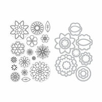 Hero Arts - Die and Clear Photopolymer Stamp Set - Blossoms for Coloring