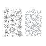 Hero Arts - Die and Clear Acrylic Stamp Set - Flowers for Coloring